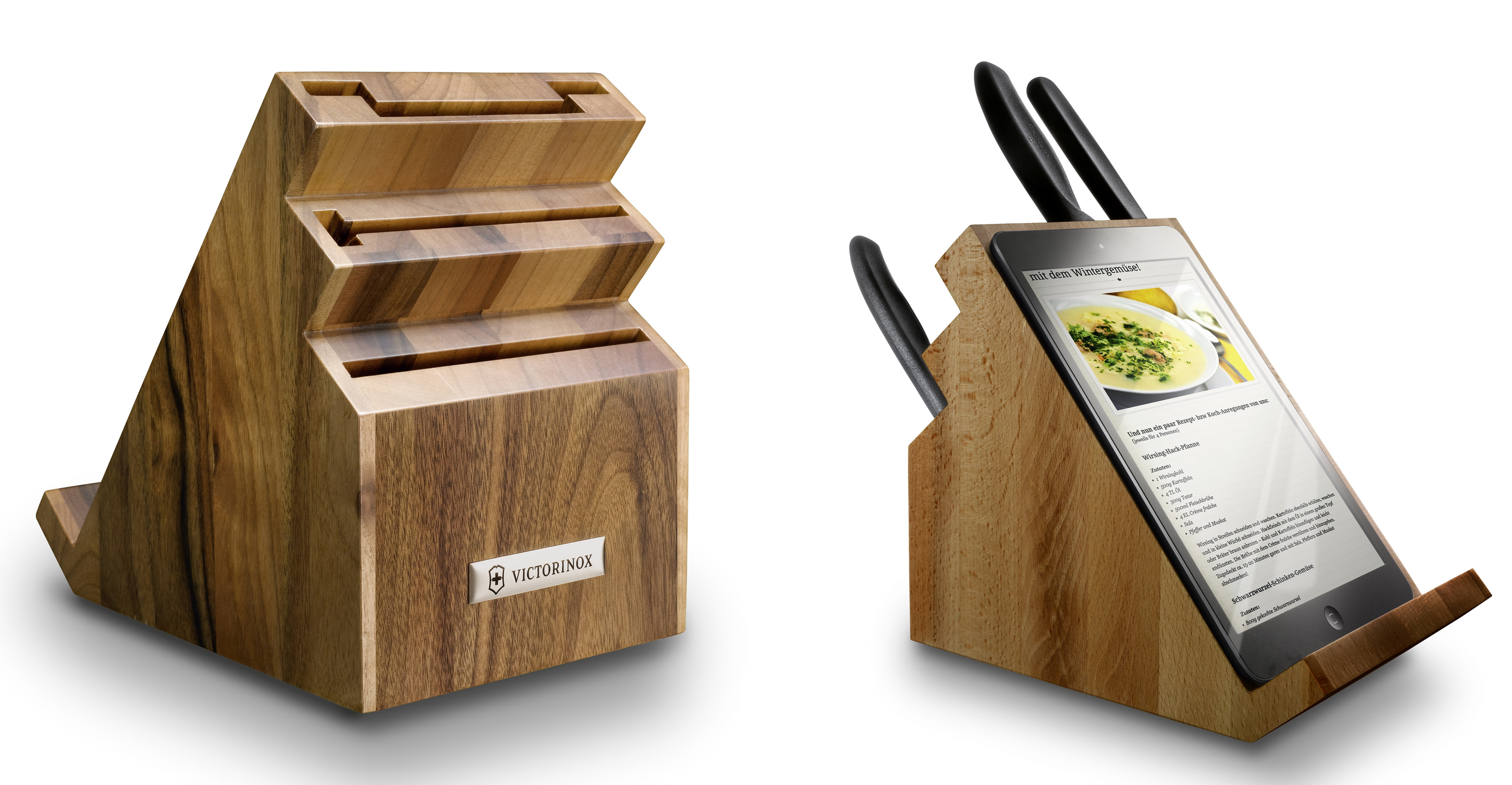 victorinox empty kitchen knives block with tablet support wood share